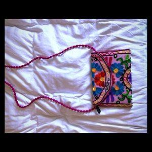 Colorful small crossbody bag. Pretty flower design